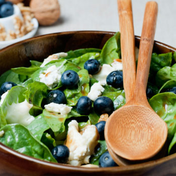 Baby Spinach Salad with Blueberries and Walnuts
