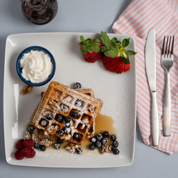 Waffles with Nuts & Blueberry Sauce