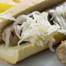 Hot dogs in Beer with Sauerkraut Relish
